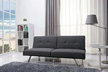 Contemporary Gray Fabric Convertable Futon Sofa Bed Recliner with Frame