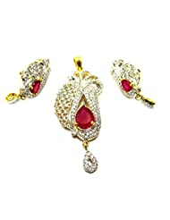 Poddar Jewels Cubic Zirconia Red Pendant Set