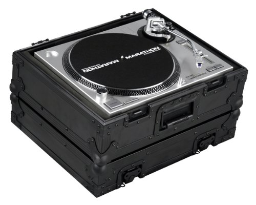 Marathon Flight Road Blk Series Case MA-1200Blk DJ Turntable Case Fits Technics 1200 And All Other Brand Turntables Such As Stanton, Gemini, Numark
