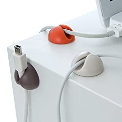 MULTI-PURPOSE CABLE CLIPS TIES - WIRE MANAGER FOR YOUR DESK/ENTERTAINMENT UNIT (PACK OF 6)