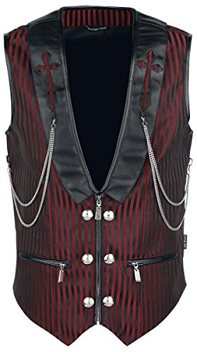 Vintage Goth Brokat Gilet nero/rosso S
