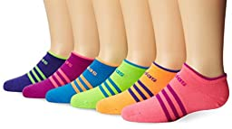 adidas Girls Superlite No Show Socks (Pack of 6), Solar Pink/Solar Green/Solar Blue/Vivid Pink/Glow Orange/Power Purple, Small