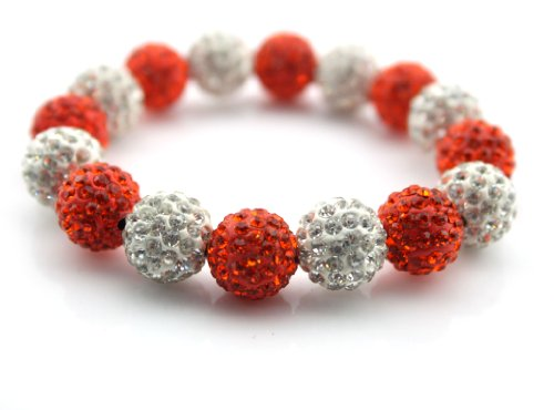 Big Dragonfly Exquisite Crystal Rhinestone Beads Bangle Bracelet With Elastic Rubber (Siver And Red) front-713943