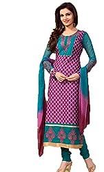 Vivacity Women's Cotton Unstitched Dress Material (Printed-06_Purple_Free Size)