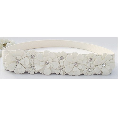 KAKA(TM) Fashion Sweet Women Girl Elastic Waistband Flower Casual Joker Belt (25.2*1.6inch)White