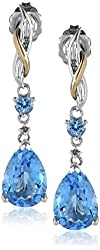 Sterling Silver and 14k Yellow Gold Diamond and Swiss Blue Topaz Pear Shape Drop Earrings