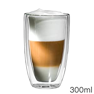 mohnblume latte macchiato glas 300ml doppelwandig thermoglas mit schwebeeffekt auch f r. Black Bedroom Furniture Sets. Home Design Ideas