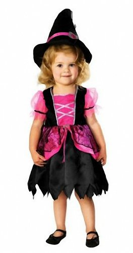 Pretty Pink Witch Toddler Girls Halloween Costume with Cape and Hat