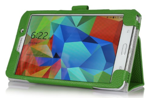 Procase Samsung Galaxy Tab 4 7.0 Tablet Case With Bonus Stylus Pen - Bi-Fold Stand Cover Case For 7 Inch Galaxy Tab 4 (2014 Released) With Hand Strap, Corner Protected (Green)