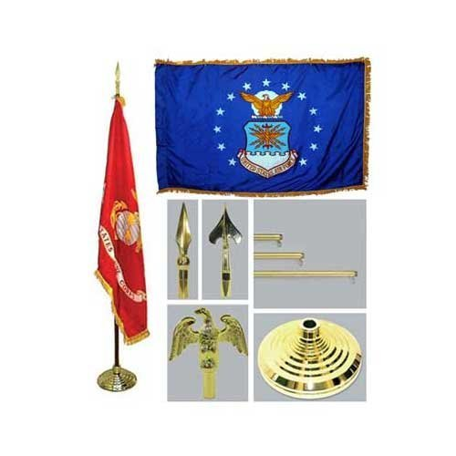 Air Force 4Ft X 6Ft Indoor Flag Telescoping Flagpole Base And Tassel