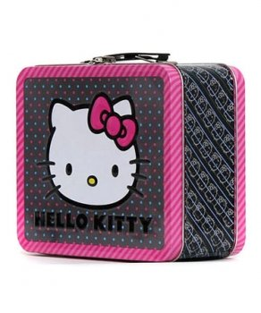 Hello Kitty Pink Bow All Over Print Lunch Box Tin SIZE Approx 8 x 7 x 4 official licensed merchandise samsung gt c3300i hello kitty pink с рисунком