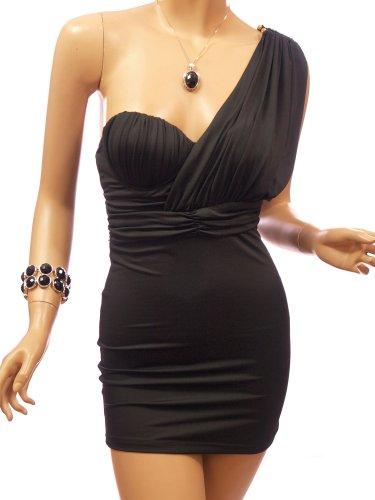 Patty Women Gercian Padded One Shoulder Clubwear Mini Dress (Black Medium)