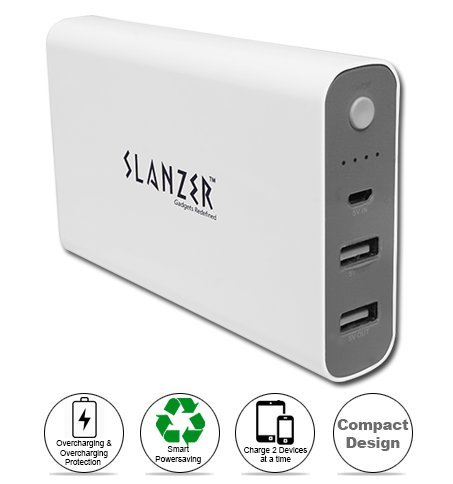 Slanzer 10000 mAh Power Bank - SZP L115 Brand Premium Quality 10000 mAh Power Bank for Samsung, MicroMax, Sony Xperia, Motorola, Nokia Lumia, HTC, Google Nexus, LG, iPhone Mobile & Tablets  available at amazon for Rs.786