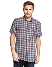 North Coast Pure Linen Grid Checked Shirt