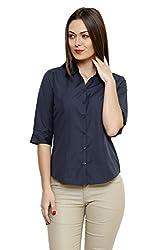 ZX3 Women's Poly Cotton Shirt(Shirt_1007_3XL, Dark Grey, XXX-Large)