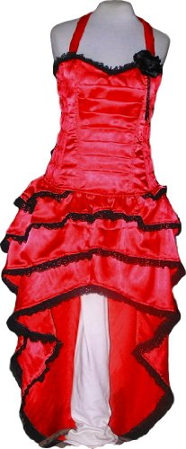 Red Ruffle Satin Bustle Dress Designer Custom Plus Size Xs XXL