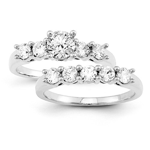 Certified 0.70 Ct. Round Cut Diamond Bridal Engagement Ring Set In 14K White Gold