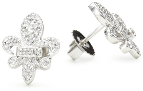 "Kc Designs ""Trinkets"" Diamond 14K White Gold Fleur-De-Lis Earrings"