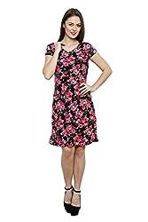 LEBE Women's Cotton Printe V-Neck A-Line Dress
