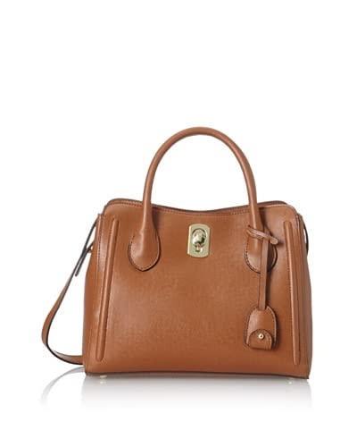 London Fog Women's Robinson Turn-Lock Top Handle Bag  [Cognac]