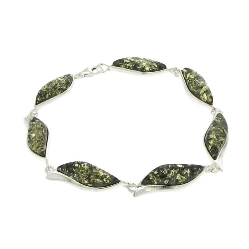 Nova Silver Wave Bracelet with Green Amber