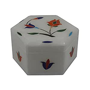 Craftuno Handcrafted Hexagonal Marble Box With Inlay Work On All Sides