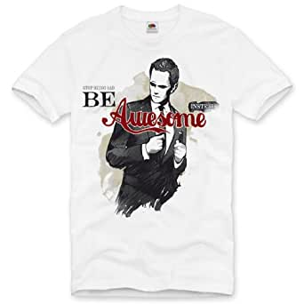 style3 Be Awesome Instead T-Shirt Homme how i met your mother Comment je l'ai rencontrée, Taille:S;Couleur:Blanc