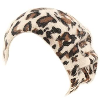 Winter Leopard Print Warm Angora Fur French Basque Beret Beanie Hat Cap Ivory S