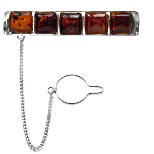 Men's Sterling Silver Cherry Amber Square Slider Tie Pin