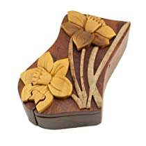 Daffodil Handmade Carved Wood Intarsia Puzzle Box