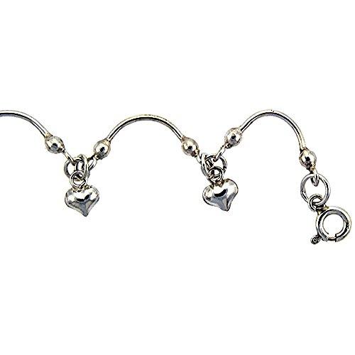 revoni bracelet cheville femme argent massif bracelet avec coeurs bijouterie dulcinea. Black Bedroom Furniture Sets. Home Design Ideas