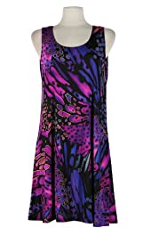 Jostar Stretchy Missy Tank Dress with Print in Abstract Design Purple Color in Medium Size