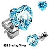 Boxed Aqua Blue Heart 6mm Crystal stud sterling silver earrings for pierced ears