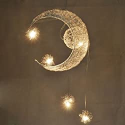 Aluminium Wire Moon Star Featured Pendant Light with 5 Lights -