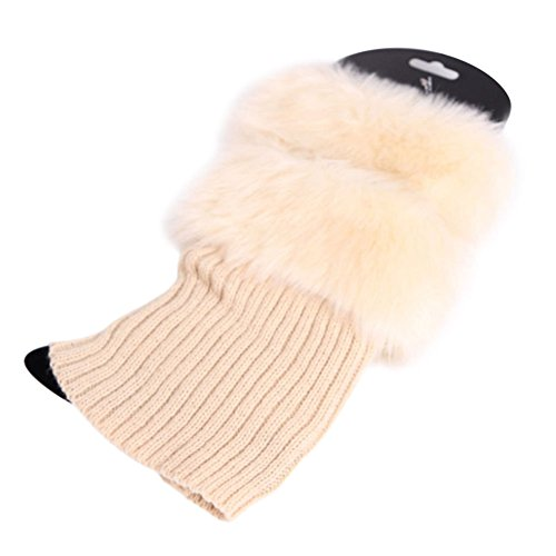 FOXDE TECH Women Winter Warmers Crochet Knit Fur Trim Leg Boot Toppers Socks For Outdoor Indoor (Beige)