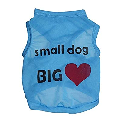 "Pet Dog T Shirts Vest with "" Small Dog Big Heart "" Words Costumes Dog Clothes Playsuit Sportwear Clothing Apparel"