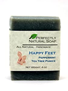 Happy Feet Peppermint Tea Tree Pumice All Natural Handmade Bar Soap, 4 oz.
