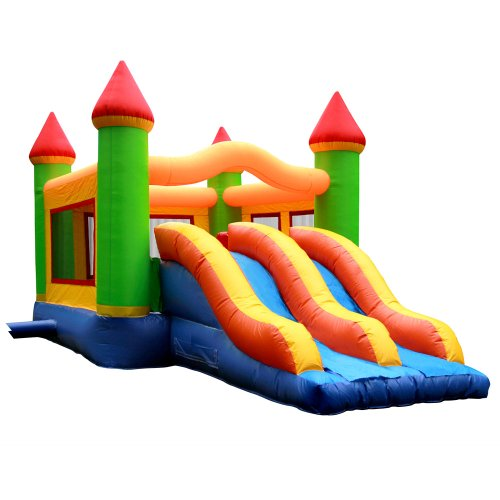 41bByaFt2FL Choosing The Best  Commercial Grade Mega Double Slide Bounce House with Obstacle and Blower from Inflatable HQ