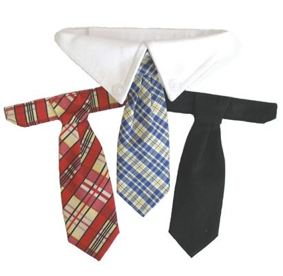 Formal Dog Wedding Necktie Collar Set w/ 3 Ties, XXL (Neck 23-26