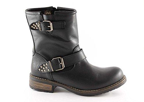 GRUNLAND GIò ERTA PO0681 nero scarpe stivaletti donna bikers zip fibbie 41