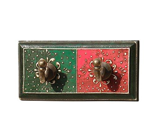 "SouvNear 6"" Double Hook Rack - Rustic Wooden Wall Decor Hooks - Decorative Room Accessories"