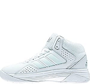 adidas Performance Men's Cloudfoam Ilation Mid Basketball Shoe,White/White/Clear Onix Grey,8.5 M US