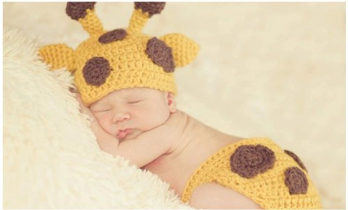Baby Crochet Giraffe Hat And Diaper Cover Set Photography Props Costume front-12561