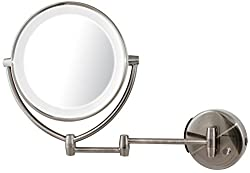Ovente Mlw45 Br Led Lighted Wall Mount Vanity Mirror, Brushed, 4 Pound