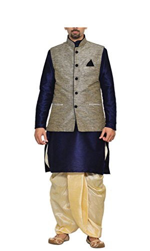 Amg-Mens-Navy-Blue-Kurta-Gold-Dhoti-With-Black-Jacket