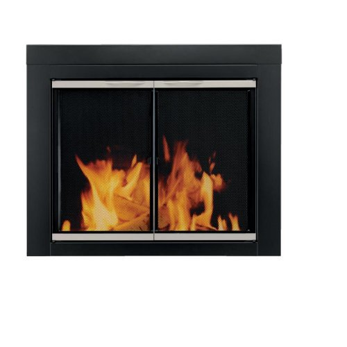 Pleasant Hearth Ap 1130 Alsip Fireplace Glass Door Black