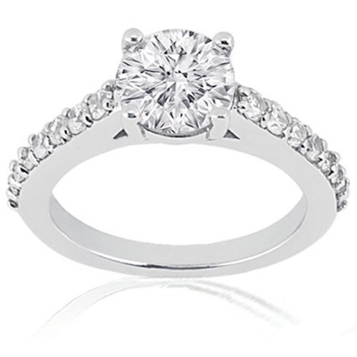 1.30 Ct Round Diamond Engagement Ring Pave CUT:VERY