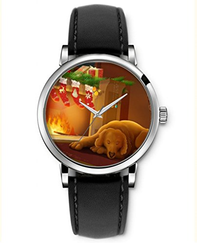 Sprawl Analog Quartz Funny Wrist Watches Holiday Gifts For Teenage Girls Christmas Watch Leather -- Lovely Dog Sleeping Near The Stove Hanging Some Stocking