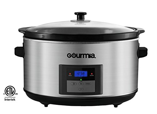 Gourmia DCP-860 SlowSmart 8.5 quart Digital Slow Cooker with Multiple Programmable Modes & Cool Touch Handles, Oval, Stainless Steel, Silver (8 Quart Programmable Slow Cooker compare prices)