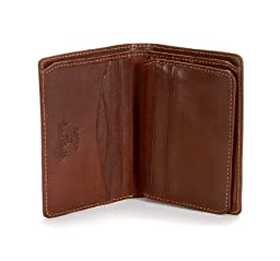 Tony Perotti Mens Italian Cow Leather Front Pocket Vertical Trifold Wallet with ID Window in Brown